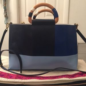 Tory Burch Blue Color Block Wooden Handle Tote